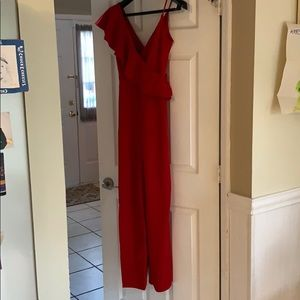 Classy red ruffle front jumpsuit